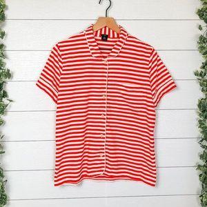 J. Crew Red White Medium Striped Pajama Top